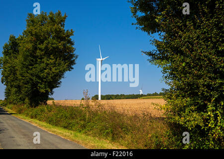 Wind farm at Charentenay, Poitou Charentes, Charente Maritime, France - Stock Photo