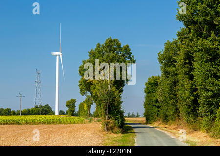 Wind farm at Charentenay, Poitou Charentes, Charente Maritime, France - Stock Photo