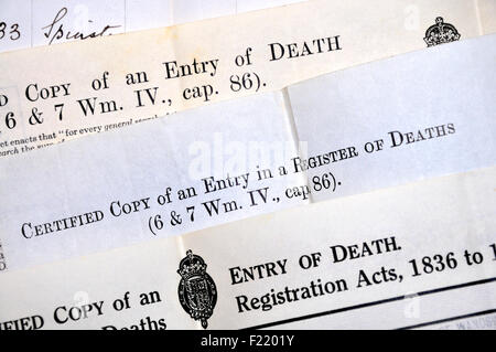Death certificates (British) - Stock Photo