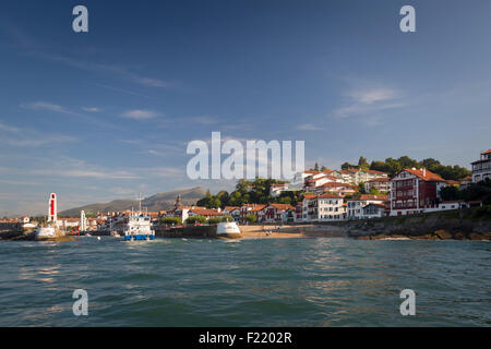 The Saint Jean de Luz and Ciboure port entrance seen from the bay of Socoa (Basque Country - France). - Stock Photo
