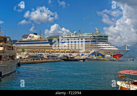 Port of Marmaris, Turkey. Cruise ship AIDA Diva on quay. - Stock Photo
