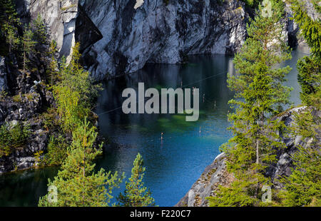 Famous beautiful marble quarry Ruskeala - Stock Photo