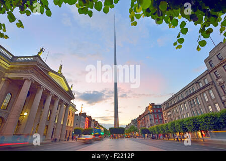 Dublin, Ireland center symbol - spire and  General Post Office - Stock Photo