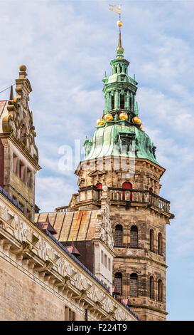 Kronborg castle made famous by William Shakespeare in his play about Hamlet situated in the Danish harbour town - Stock Photo