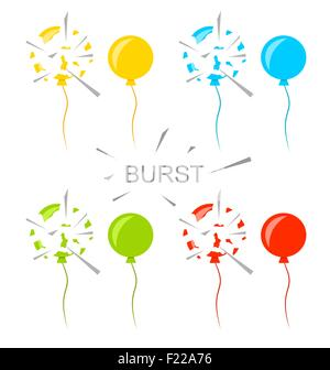 Set Colorful Popped Balloons Isolated - Stock Photo