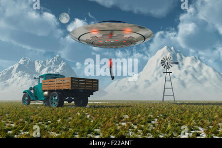 Alien Abduction : A Man Being Levitated Into A UFO. - Stock Photo