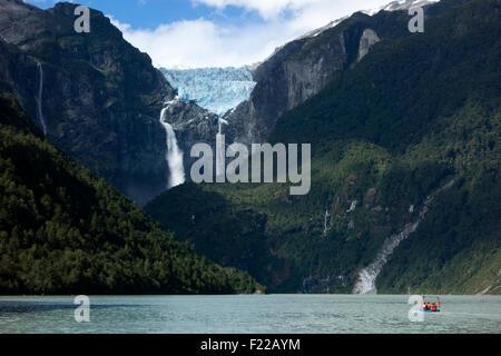 The hanging glacier. Queulat National Park. Aysén Region. Chile - Stock Photo