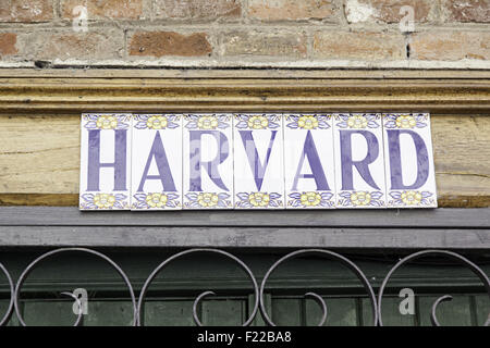 Sign Harvard University, detail signal information, education - Stock Photo