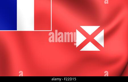 3D Flag of the Wallis And Futuna. Close Up. - Stock Photo