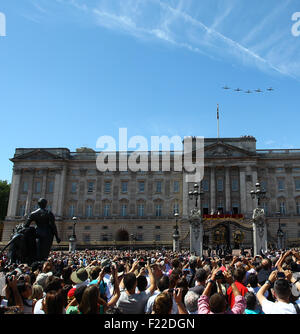 Members of the Royal Family appear on the balcony of Buckingham Palace to watch a fly past of the Battle of Britain - Stock Photo