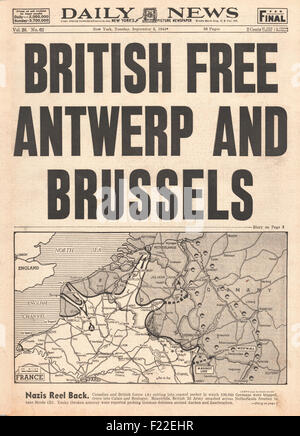 1944 Daily News (New York) front page reporting British Army liberate Brussels and Antwerp - Stock Photo