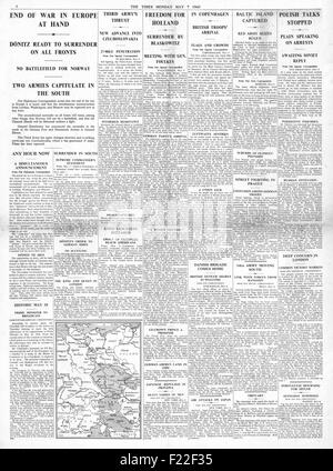 1945 The Times page 4 reporting End of War in Europe as Nazi Germany Surrenders - Stock Photo