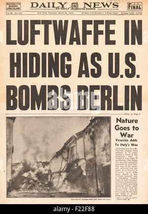 1944 Daily News front page reporting U.S. Airforce Bombs Berlin and Mount Vesuvius erupts - Stock Photo