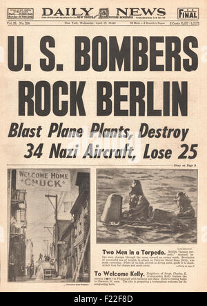 1944 Daily News front page reporting U.S. Airforce Bombs Berlin - Stock Photo