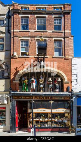 Victorian shopfront of Jeweller G A Baker and Son with famous Baker's Clock, Southgate Street, Gloucester, England, - Stock Photo