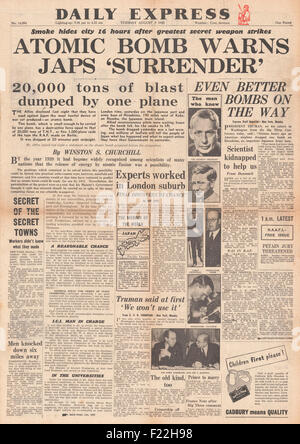 1945 Daily Express Post front page reporting Atom Bomb Dropped On Hiroshima - Stock Photo