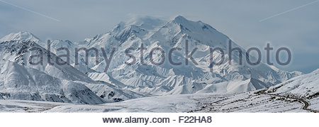 Denali (also known as Mount McKinley) and the park road (bottom right) in Denali national park - Alaska - Stock Photo