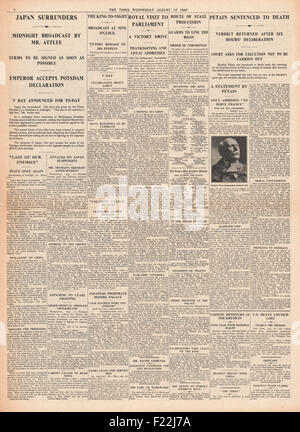 1945 The Times page 4 reporting the end of World War Two and VJ Day - Stock Photo