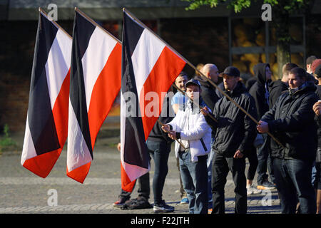 Supporters of the german far right neo-nazi party DIE RECHTE (the rights) waving the flag of the German Empire (Deutsches - Stock Photo