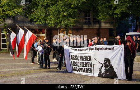 Supporters of the german far right neo-nazi party DIE RECHTE (the rights)  protest in Dortmund/Germany, Sept. 9th. - Stock Photo