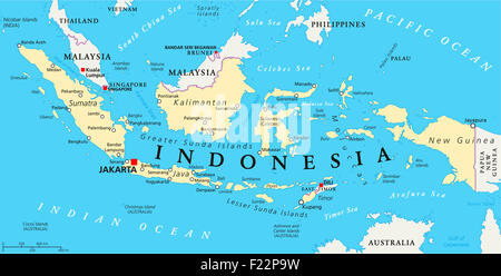 Indonesia political map with capital Jakarta, national borders and important cities. English labeling and scaling. - Stock Photo