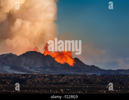 Lava glowing from the eruption at the Holuhraun Fissure. August 29, 2014 a fissure eruption started in Holuhraun - Stock Photo
