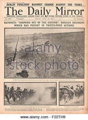 1915 front page Daily Mirror Russian army in Action on the Eastern Front - Stock Photo