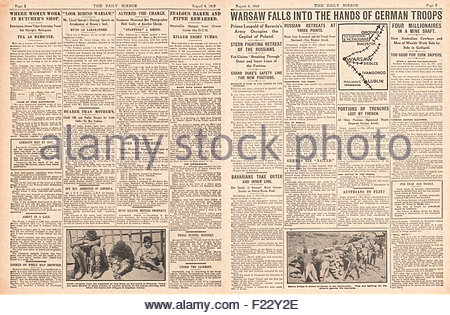 1915 pages 2 & 3 Daily Mirror German Army capture Warsaw - Stock Photo