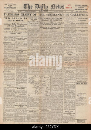1915 front page Daily News Yeomanry advance in Gallipoli and German Army capture Grodno - Stock Photo