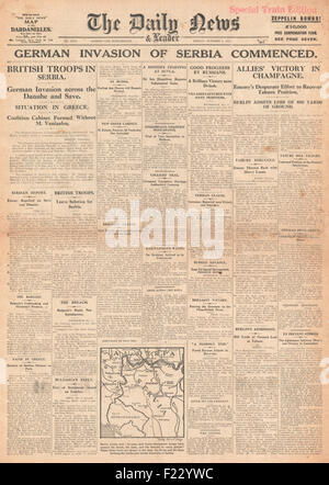 1915 front page Daily News German and Austro-Hungarian forces invade Serbia and Allied victory in Champagne - Stock Photo