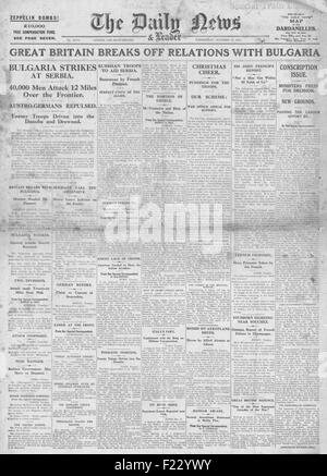 1915 front page Daily News Britain breaks off relations with Bulgaria and Russia to help Allies in Serbia - Stock Photo