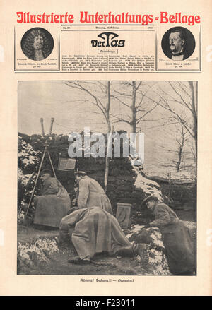 1915 front page Der Tag German soldiers take cover from shelling - Stock Photo