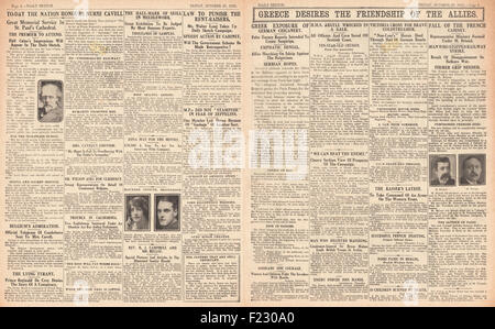 1915 pages 2 & 3 Daily Sketch Greece Seeks Friendship of the Allies, French Cabinet Resigns, HMS Argyll wrecked - Stock Photo