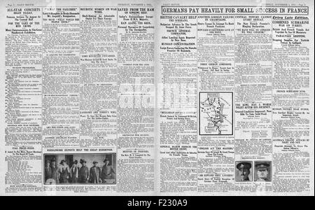 1915 pages 2 and 3 Daily Sketch German Army held in France, Submarine War on Turkey and British Cavalry help Serbia - Stock Photo