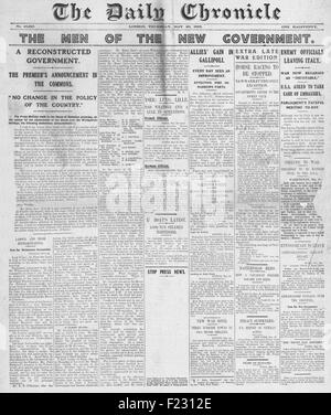 1915 front page Daily Chronicle New British Government announced - Stock Photo
