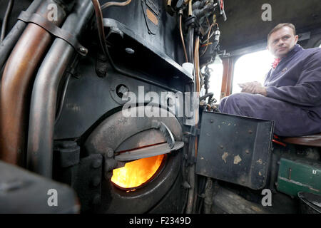 TweedBank, Scotland, UK. 9th September, 2015. Fire box on the Union of South Africa Credit:  Mark Pink/Alamy Live - Stock Photo