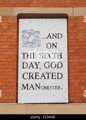 One of several mosaics on the walls of Afflecks Palace indoor market, Manchester, UK, by local artist Mark Kennedy. - Stock Photo