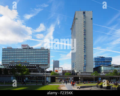 View of Piccadilly Gardens, Manchester, looking towards Piccadilly Plaza. - Stock Photo