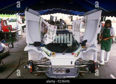 44 Bob Tullius, Brian Redman and Doc Bundy Jaguar XJR-5 in the Redman garage at Le Mans 17 June 1984 - Stock Photo