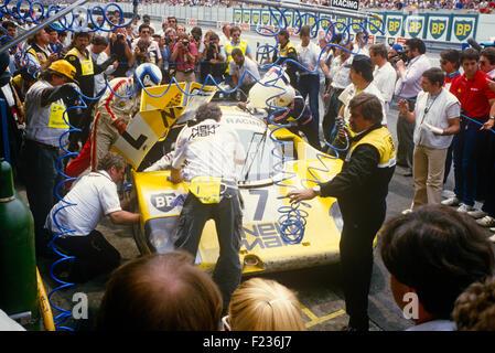 Klaus Ludwig, Paolo Barilla and John Winter Porsche 956, the race winner Le Mans 16th June 1985 - Stock Photo