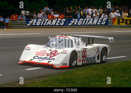 99 Paul Smith, Will Hoy and Nick Nicholson Tiga at Le Mans 16 June 1985 - Stock Photo