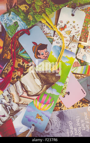 set of various bookmarks background - Stock Photo