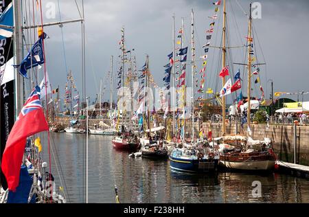 View of Tall Ships in James Watt Dock, Greenock, Inverclyde, Scotland during the 2011 Tall Ships Race - Stock Photo