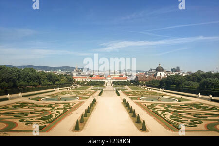 WIEN - JULY 31: View of Schoenbrunn Sissi Castle. Since 1996 the palace and the garden have been declared World - Stock Photo