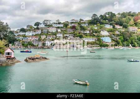 View from Warfleet Creek at Dartmouth Harbor and Kingswear at the River Dart, Devon, England, UK - Stock Photo