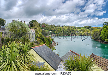 View from Warfleet Creek at Dartmouth Harbor at the River Dart, Devon, England, UK - Stock Photo