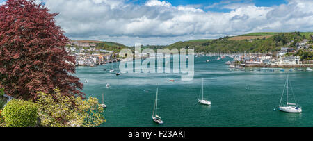 View at Dartmouth Harbor and Kingswear at the River Dart, Devon, England, UK - Stock Photo