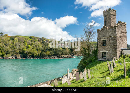 Dartmouth Castle that guard the mouth of the Dart Estuary in Devon, England | Dartmouth Burg, Flussmuendung Dart - Stock Photo