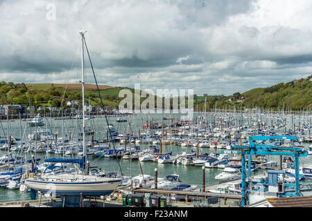 View at Dartmouth Marina at the River Dart, Devon, England, UK | Aussicht ueber Dartmouth Marina, Fluss Dart, Devon - Stock Photo