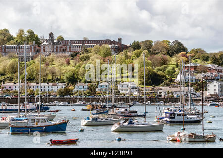 View from Kingswear at Dartmouth Marina at Britannia Royal Naval College at the River Dart, Devon, England, UK - Stock Photo